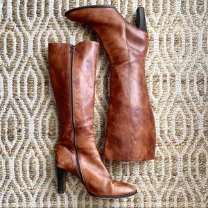 J. Crew Tan Knee-Length Zip-up Heeled Riding Boots